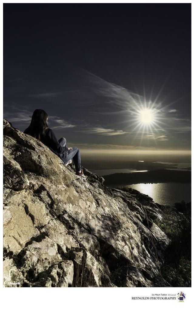 Pantano de Alange Isa Tomando el Sol en un atardecer precioso